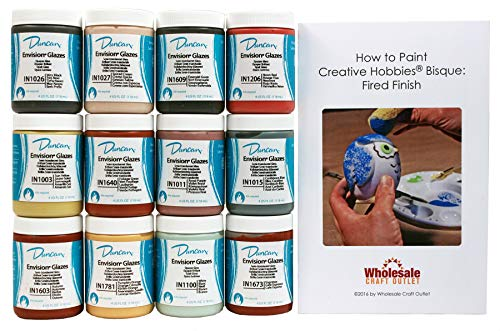 (Duncan INKIT-1 Envision Glaze Kit for Ceramics - Set of 12 Best Selling Colors in 4 Ounce Jars with Free How to Paint Ceramics Booklet)