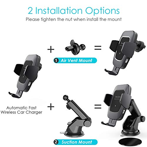 Heiyo Wireless Car Charger Mount, Auto-Clamp Cradle, Qi Charging Holder, Windshield & Air Vent, 10W Compatible for Samsung S9/S9+/S8/Note 8, 7.5W Compatible for iPhone Xs Max//Xs/XR/X 8/8 Plus(Black) by Heiyo (Image #1)