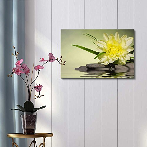 Yellow Flower and Smooth Stones Spa Beauty Wellness Concept Retro Style Wall Decor