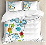 Ladybugs 4 Piece Bedding Set Queen Size, Flowers and Oval Dome-Shaped Ladybugs Illustration Never Ending Love Story Luck Symbol, Duvet Cover Set Quilt Bedspread for Childrens/Kids/Teens/Adults, Multi
