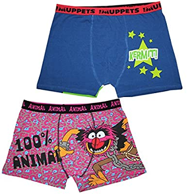 (Pack of 2) Mens MUPPETS(KERMIT THE FROG) & ANIMAL Boxer Shorts