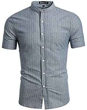 HZ160507 Men Banded Collar Short Sleeves Stripes Pattern Shirt