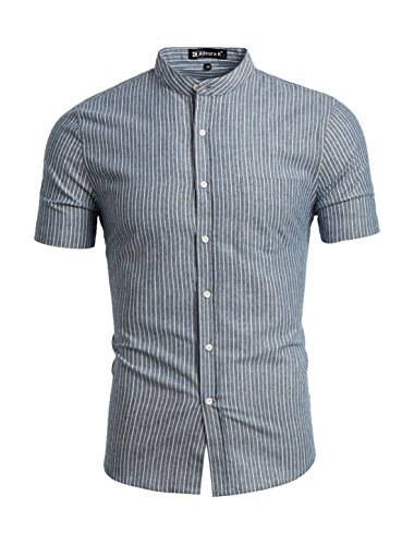 Yoke Striped Shirt - uxcell Men Striped Banded Collar Short Sleeves Shirt X-Large Grey