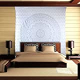 Silver Mandala Tapestry Queen Cotton Printed Wall Hanging Indian Bedding Decor