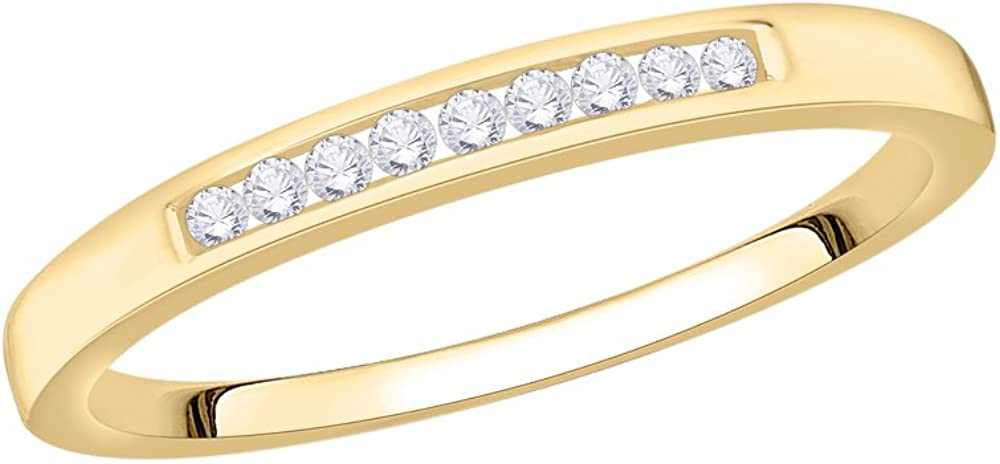 1//10 cttw, G-H,I2-I3 Size-4.75 Diamond Wedding Band in 10K Yellow Gold