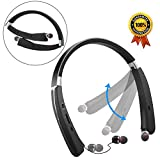 Retractable Wireless Headphones, Foldable Neckband Design, Sweatproof, 18hours Playtime (Black)