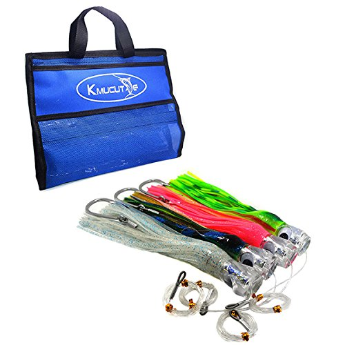 kmucutie Trolling Lure Octopus Skirted Offshore Game Fishing Lures Marlin Tuna Wahoo Dolphin 11inch 4pcs (Fishing Blue Marlin)