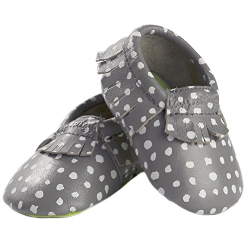 Itzy Ritzy Moc Happens Handmade Genuine Leather Baby Moccasin (Infant), Ritzy Dot, 0-6 Months M US Infant