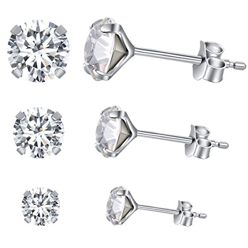 Yan & Lei Sterling Silver Ear Studs Set of 3 Pairs with White Round Rhinestone in 4 mm, 5mm and 6 (Rhinestone Sterling Silver Stud)