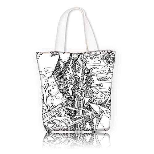 Canvas Beach Bags —W17.7 x H14 x D7 INCH/Casual Top Handle Bag Crossbody Shoulder Bag Purse Sketchy Hand Drawn Image of House Cartoon Like Witch Castle Halloween Themed Image Black and White.