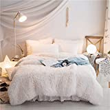 Faux Fur Duvet Cover HomeDeluxe Fluffy Bedding Cover 100% Velvet Flannel 1PCS Duvet Cover (1 Duvet Cover,), Solid Color, No Inside Filler, Zipper Closure (White, Queen (1pc Duvet Cover))