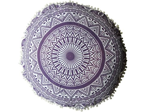 Large Ombre Round Pillow Cover Decorative Mandala Pillow Cover Indian Bohemian Ottoman Poufs Cover Pom Pom Pillow Cases Outdoor Floor Cushion Cover,Organic Cotton, Hand Printed, 32 Inch