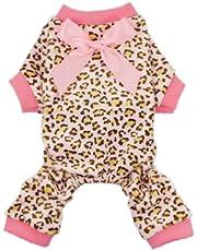 Fitwarm Leopard Ribbon Soft Velvet Dog Pajamas for Pet Dog Clothes Comfy Pjs, Large