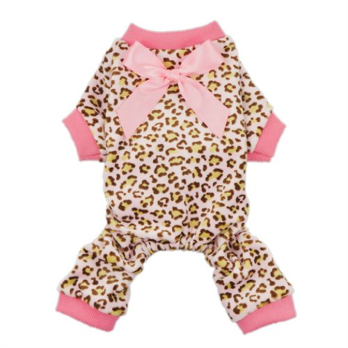 Tiny Dog Ribbon - Fitwarm® Leopard Ribbon Soft Velvet Dog Pajamas for Pet Dog Clothes Comfy Pjs, X-small
