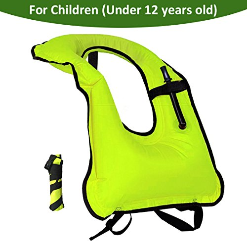 Lesberg Snorkel Vest Children Inflatable Portable life jackets kids Free Diving Swimming Safety Boys Girls (green) ()