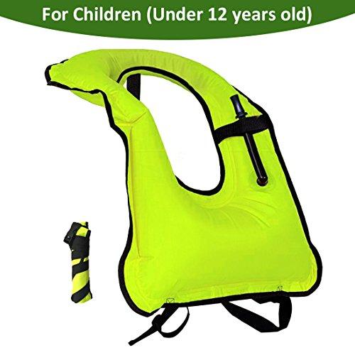 Snorkel Vest Children Inflatable Portable life jackets kids Free Diving Swimming Safety Boys Girls (green) (Child Vest Snorkel)