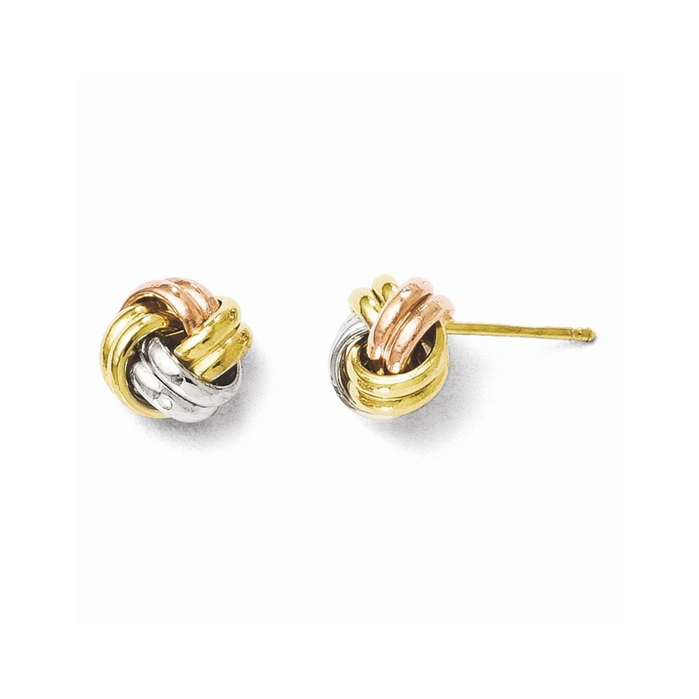 10kt Two Tone Gold Post Knot Earrings