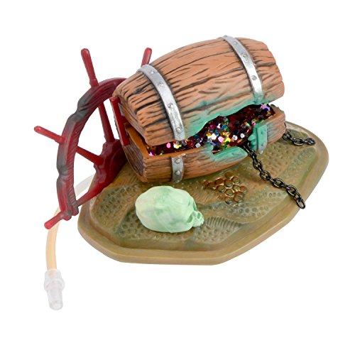 Saim Treasure Chest with Skeleton and Wheel Live Action Aquarium Ornaments (Fish Bubbler Tank Skeleton)