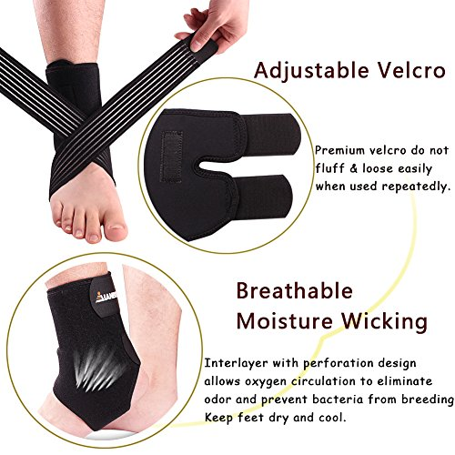 Ankle Support Brace Fitness Compression Wrap Support with Adjustable Strap for Mens Women Running, Basketball, Walking, Jogging, Hiking (black)