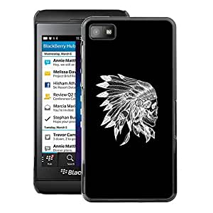 A-type Arte & diseño plástico duro Fundas Cover Cubre Hard Case Cover para Blackberry Z10 (Skull Indian Native American Black)