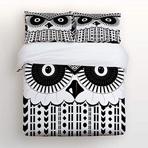 4 Piece Bedding Duvet Cover Sets with Flat Sheet and Decorative Pillowcases for Kids/Adults/Teens - Twin Size Luxury Soft Lightweight Brushed Microfiber, Tribe Geometric -