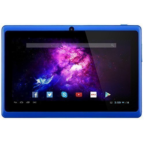 "Alldaymall 7"" Tablet Android 4.4 Quad Core HD 1024×600, Dual Camera Bluetooth Wi-Fi, 8GB 3D Game Supported – Blue (Third Generation)"