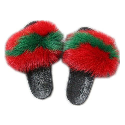 Single Slippers Black qmfur Strap Women Sandals Fur Sole green Toe Fox Real Red Slides On Slip Open q81US8