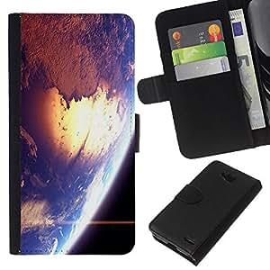 All Phone Most Case / Oferta Especial Cáscara Funda de cuero Monedero Cubierta de proteccion Caso / Wallet Case for LG OPTIMUS L90 // Space Earth Sun Blue Planet Cosmos Star