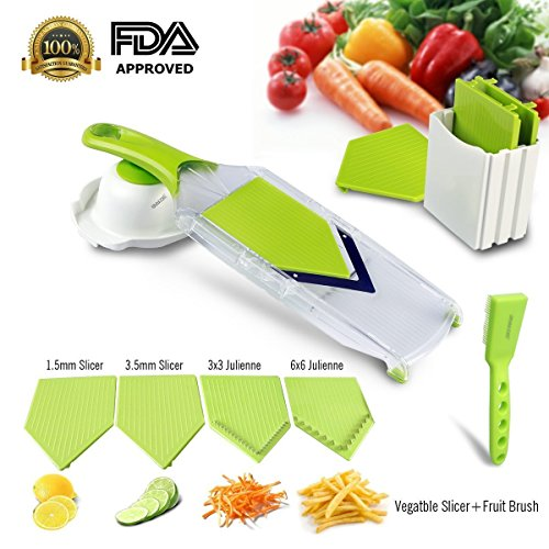 Mandoline Slicer,Asscom Vegetable Slicer,Vegetable Cutter,Cheese Slicer,Vegetable Julienne Slicer with Grade Stainless Steel Blades,1 Kitchen V Slicer+1 Vegetable Brush+1 clean brush, 4-Blade Slicer
