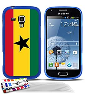 """Carcasa Flexible Ultra-Slim SAMSUNG GALAXY TREND de exclusivo motivo [Ghana Bandera] [Azul] de MUZZANO  + 3 Pelliculas de Pantalla """"UltraClear"""" + ESTILETE y PAÑO MUZZANO REGALADOS - La Protección Antigolpes ULTIMA, ELEGANTE Y DURADERA para su SAMSUNG GALAXY TREND"""