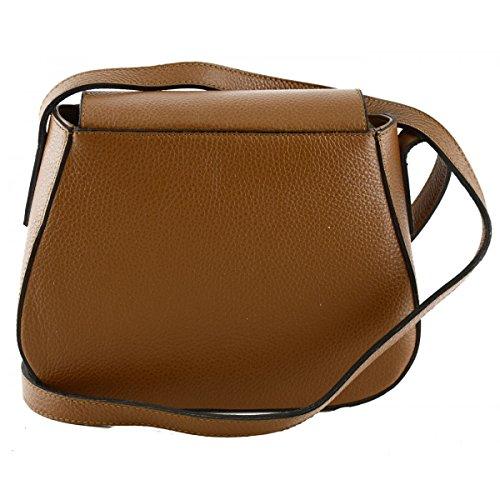 Echtes Leder Schultertasche Farbe Cognac - Italienische Lederwaren - Damentasche