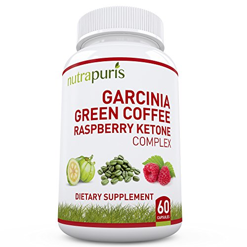 Nutrapuris First '3-In-1' Garcinia Cambogia, Green Coffee Bean & Raspberry Ketones Extract - 60 Max Pure Capsules 100% Happiness Pledge!