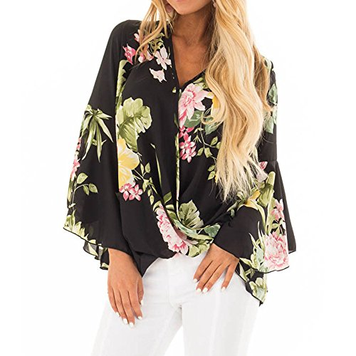 New in Respctful✿Women 's Boho Floral Print Bell Sleeve Shirt Tie Knot Deep V Neck Tops Lace Up Ruffle Blouse Tops Black
