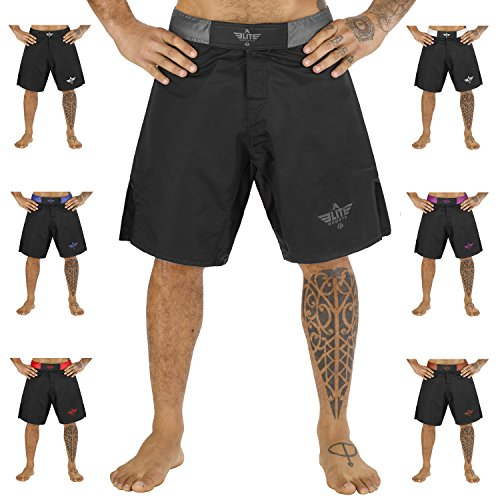 NEW ITEM Elite Sports Black Jack Series Fight Shorts - UFC, MMA, BJJ, Muay Thai, WOD, No-Gi, Kickboxing, Boxing Shorts (Gray, Medium)