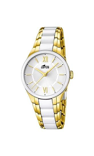 Lotus Reloj de Cuarzo para Mujer con Color Blanco Esfera analógica Pantalla y Pulsera de cerámica Blancos 15935/1: Amazon.es: Relojes