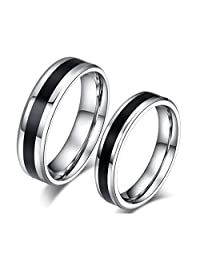 ROWAG Black 6MM Mens Titanium Stainless Steel Couple Rings for Him and Her 4MM Womens Valentines Day Wedding Promise Engagement Bands