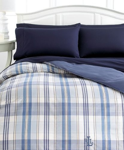 Lauren by Ralph Lauren Sundeck Pastel Blue Plaid Down Alternative Comforter, FULL/QUEEN