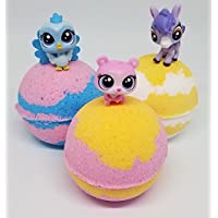 (3) Bath Bomb with (3) Littlest Pet Shop LPS Mini Figures in Cotton Candy fragrance