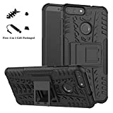 LiuShan Huawei P Smart case, [Shockproof] Heavy Duty Combo Hybrid Rugged Dual Layer Grip [Impact Protection] with Kickstand For Huawei P Smart 2018 (Not fit Huawei P smart 2019) Smartphone,Black
