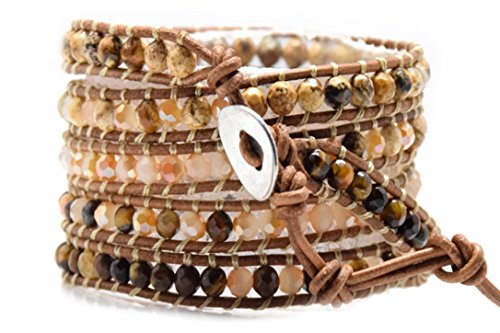 Blupear Tiger Eye Jasper and Pink Jade Wrap Bracelet Natural Brown Leather 5 Layers 4 mm Fashion Jewelry