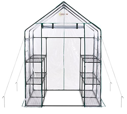 OGrow OG6868-D Deluxe Walk-in 6 Tier 12 Shelf Portable Greenhouse, Standard