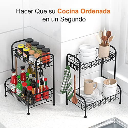 Especiero Cocina, Organizador Baño, Organizador Cocina Desmontable de 2 Niveles, Organizador Especias con 6 Ganchos, Para Cocina, Baño, Dormitorio y Oficina (No Hay Necesidad Instalar Herramientas)