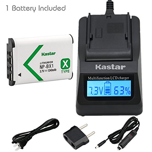 Kastar Fast Charger and Battery (1-Pack) for Sony NP-BX1, M8 and Cyber-shot DSC-HX50V, HX300, RX1, RX1R, RX100, RX100M, RX100M3, WX300, HDR-AS10, AS15, AS30V, AS100V, AS100VR, CX240, MV1, PJ275 Camera -  CH01-1B-BX1