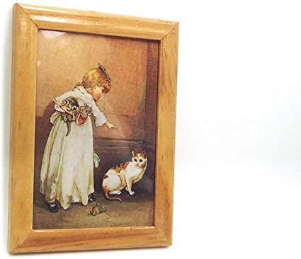 Vintage Mini Lady Picture in Frame for 1:12 Dollhouse Miniature Wall Decor