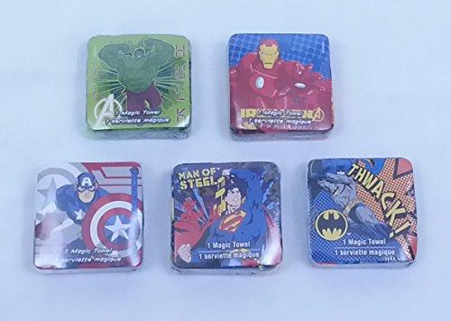 BUNDLE - 5 Items: Super Hero Magic Towel Wash Cloths - Hulk, Ironman, Captian America, Superman, & Batman
