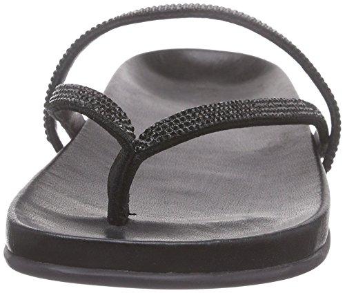 Inuovo 6056 - Sandalias de dedo Mujer Negro - Schwarz (BLACK STRASS-BLACK)