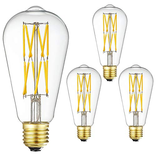 LED Edison Bulb Dimmable 12W 3000K Soft White 1200LM, 100W Equivalent E26 Medium Base, ST64 Vintage LED Bulbs, 360 Degree Beam Angle, Clear Glass, Pack of 4.