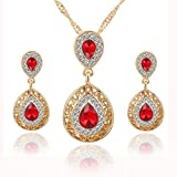 Red Women Wedding Polished Chain Necklace Waterdrop Crystal Earrings Jewelry Set