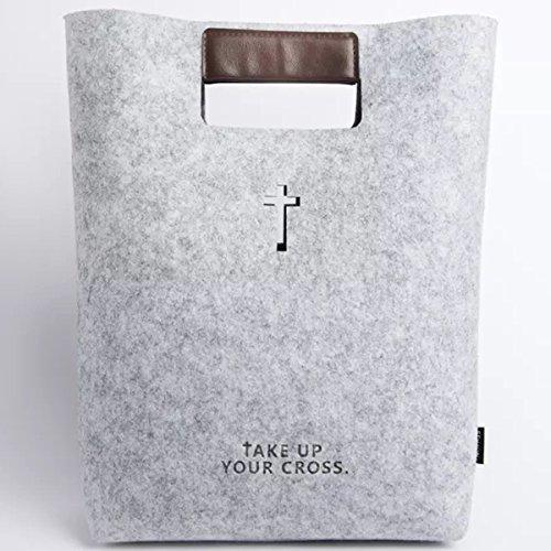 Bible Carrying Case Handbag Bible Cover Wool Felt Bible Bag Leather Tote Bible Case for Women Business Office Bag for iPad/Macbook, Notebook, Christian Gifts, Grey, Children's Day ()