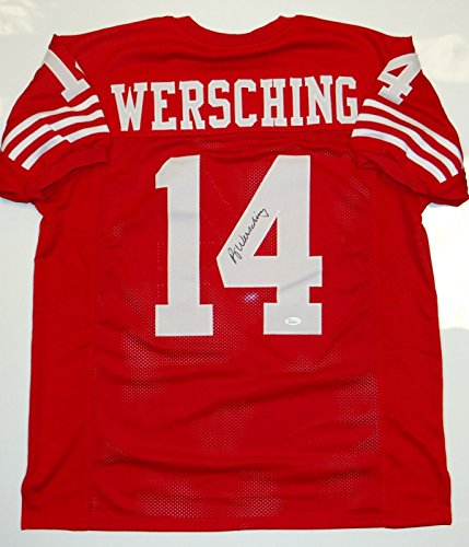 - Ray Wersching Signed / Autographed Red Jersey- JSA W Authenticated